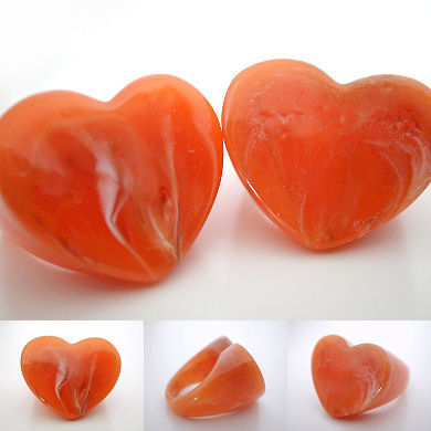 marbled acrylic heart rings - orange