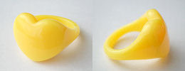 acrylic heart rings - lemon yellow