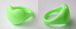 acrylic heart rings - lime green