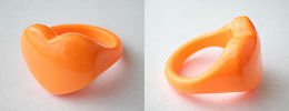 acrylic heart rings - orange