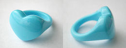 acrylic heart rings - sky blue