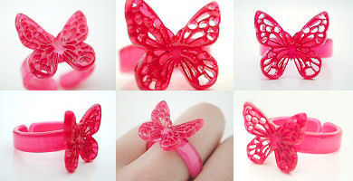butterfly rings - pink