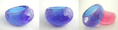 faceted dome ring in acrylic - blue