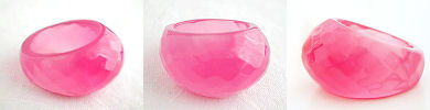 faceted dome ring in acrylic - pink