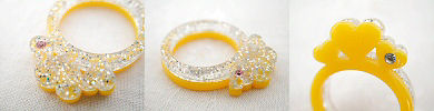glitter hearts ring - yellow