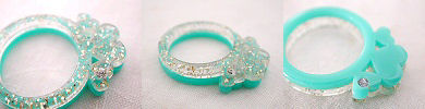 glitter hearts ring - turquoise