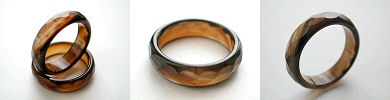 faceted agate band rings - coffee brown