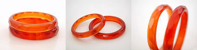 faceted red carnelian agate band rings