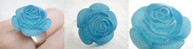 blue lucite rose ring
