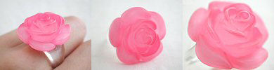 pink lucite rose ring