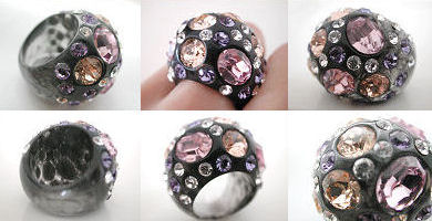 sparkly glam acrylic dome rings