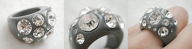 acrylic and rhinestone glam rings