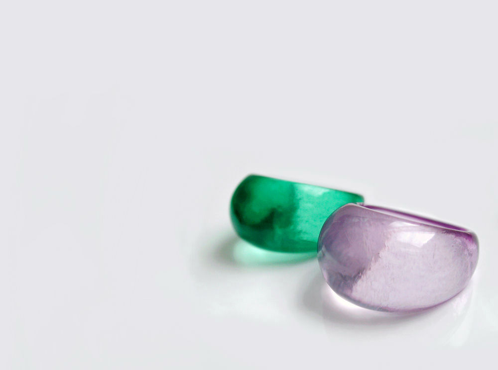 colourful acrylic rings in green and purple