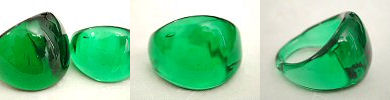 venetian murano glass rings - solid glass dome ring in emerald green
