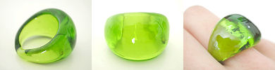 venetian murano glass rings - solid glass dome ring in spring green