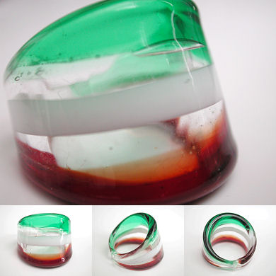 venetian murano glass rings - solid glass ring with coloured bands