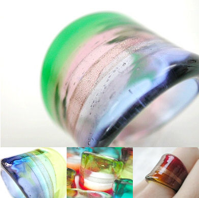 venetian murano glass rings - solid glass rings with coloured bands