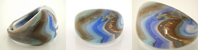 venetian murano glass rings - solid glass rings with coloured swirls
