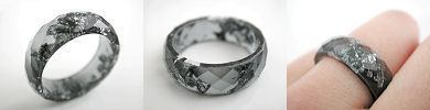 faceted resin band rings with metallic flakes - black and silver