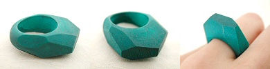 solid wood ring in teal