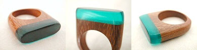 wood and resin ring - turquoise
